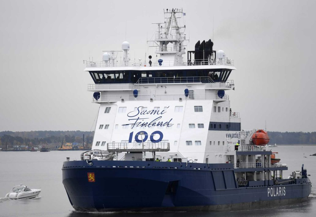 Blue and white icebreaker ship Polaris.