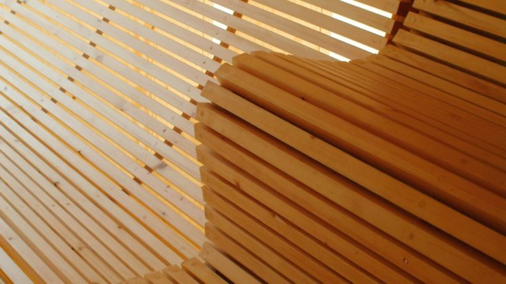 Sauna bencehs made out of wood.