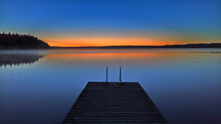 A lake view during sunset.