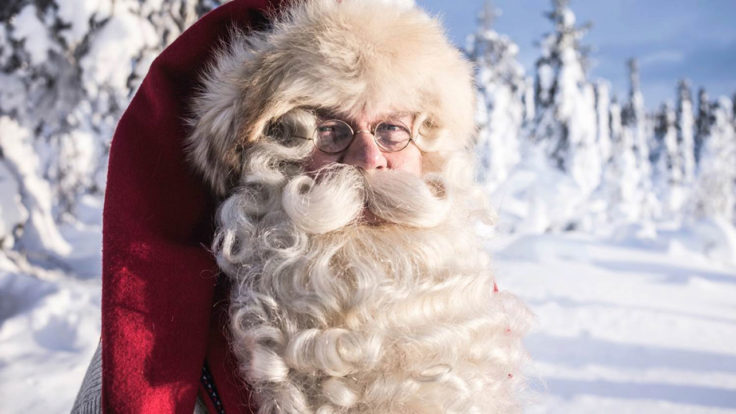 A close up of the face of Santa Claus with snowy trees in the background.