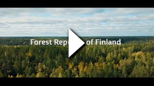 "A forest landscape with the words ""Forest Republic of Finland"" on top and a video play symbol."