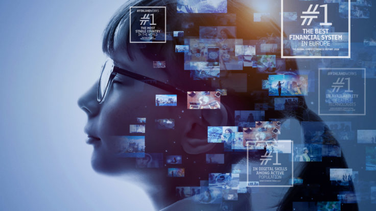 AI (Artificial Intelligence) concept picture, side profile of a woman with different smaller pictures on the picture.
