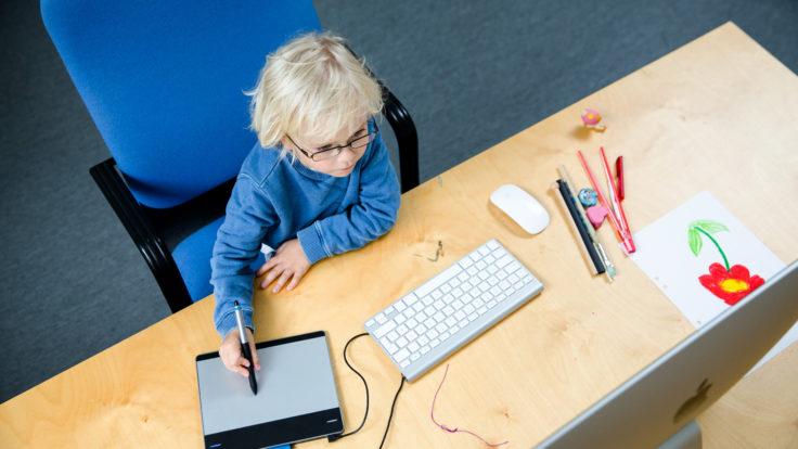 Boy uses a digital drawing board