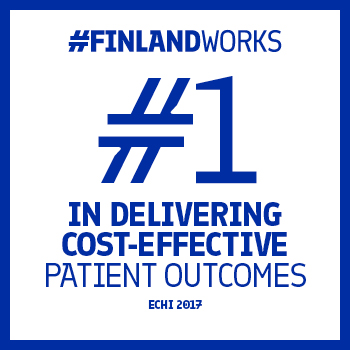 "This graphic has a white background with a blue frame and the text ""#FinlandWorks. #1 in delivering cost-effective patient outcomes. Echi 2017"""