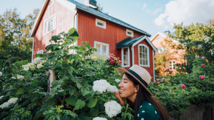 Woman with a summer hat smelling white flowers in front of a red wooden house