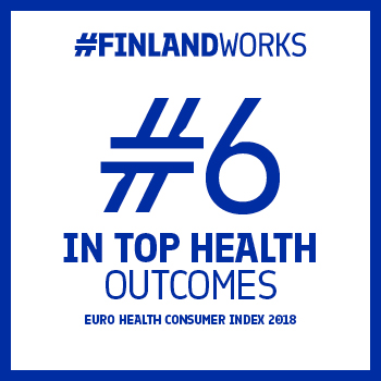 "This graphic has a white background with a blue frame and the text ""#FinlandWorks. #6 in top health outcomes. Euro Health Consumer Index 2018."""