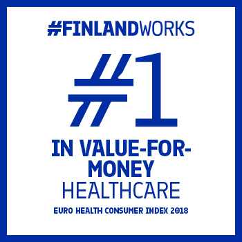"This graphic has a white background with a blue frame and the text ""#FinlandWorks. #1 in value-for-money healthcare. Euro Health Consumer Index 2018"""