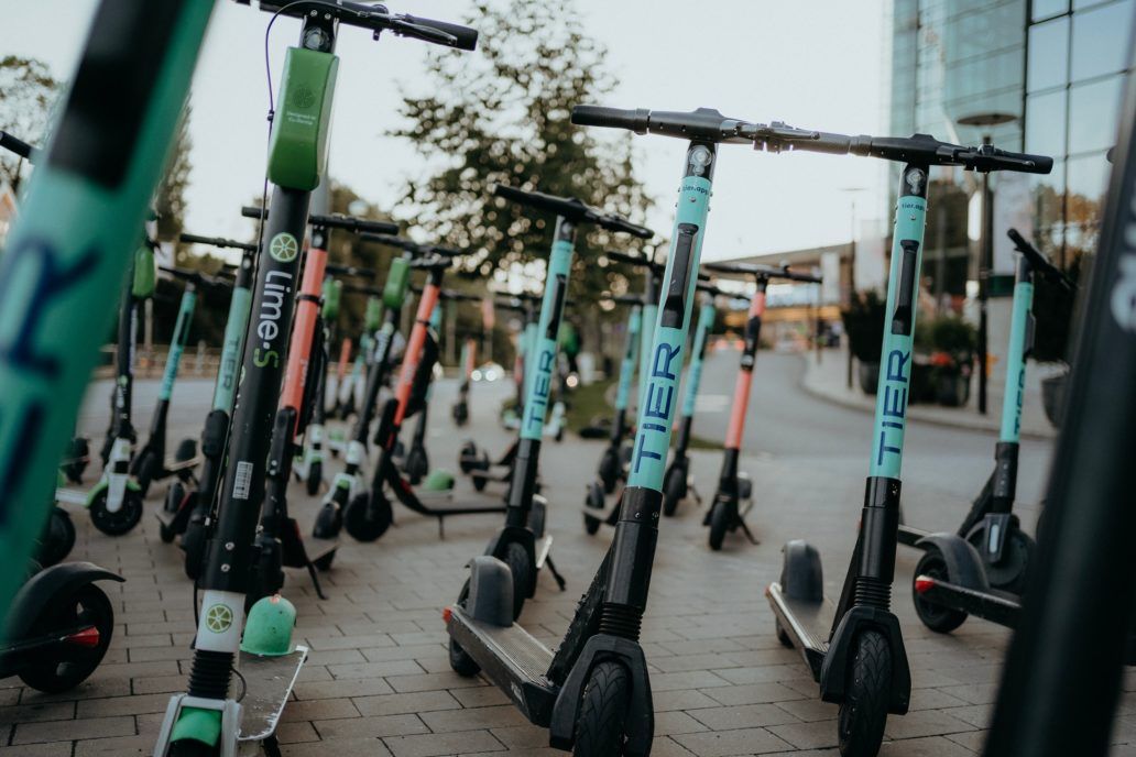 Picture of electric scooters parked.