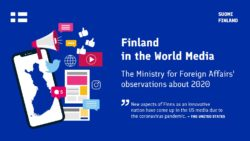 Text Finland in world media 2020, with a picture of blue Finland map and smaller social media icons